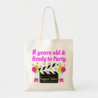 8 YEAR OLD AND READY TO PARTY MOVIE STAR DESIGN