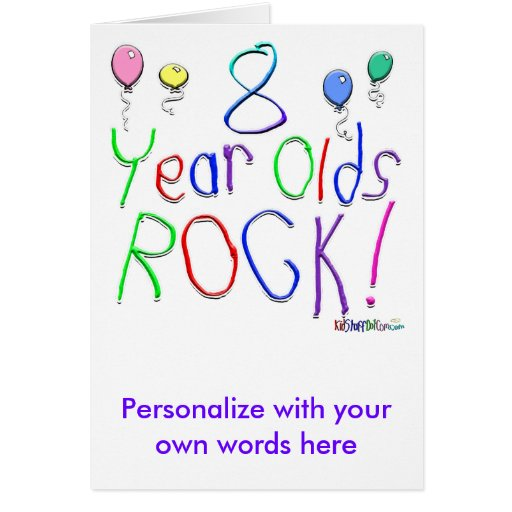 8 Year Olds Rock ! Card