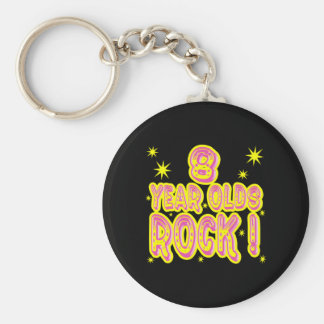 8 Year Olds Rock! (Pink) Keychain