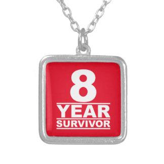 8 year survivor square pendant necklace