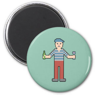 8Bit French with Wine 6 Cm Round Magnet