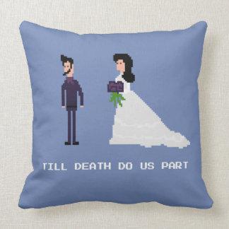 8Bit Gamer Goth - Till Death Do Us Part Pixel Cushion