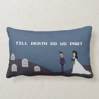 8Bit Gamer Goth - Till Death Do Us Part Pixel Lumbar Cushion