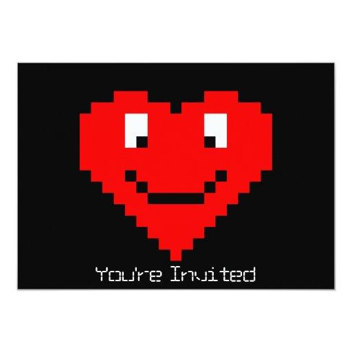 8bit Heart Face 13 Cm X 18 Cm Invitation Card