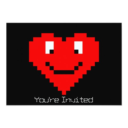 8bit Heart Face Card