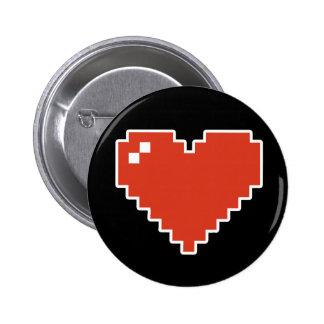 8bit Heart Full 6 Cm Round Badge
