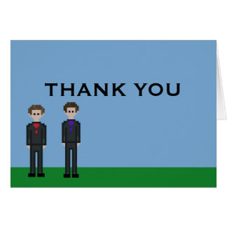 8bit Pixel Gamer Gay Groom Wedding Thank You Card