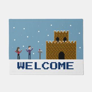 8Bit Pixel Gamer Welcome Home Winter Snow Doormat