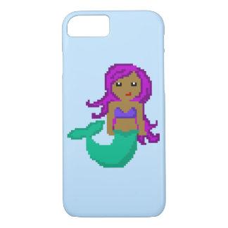 8Bit Pixel Geek Mermaid with Purple Hair iPhone 8/7 Case