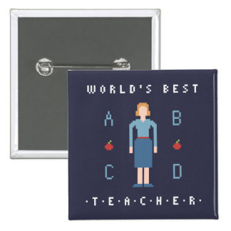 8Bit Style Best Teacher 15 Cm Square Badge