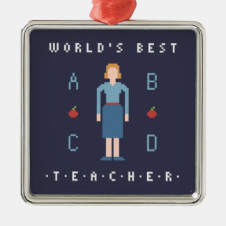 8Bit Style Best Teacher Silver-Colored Square Decoration