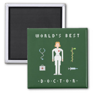 8Bit Style Female Best Doctor Square Magnet