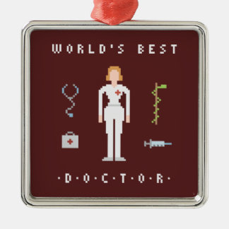 8Bits Style Best Doctor Silver-Colored Square Decoration