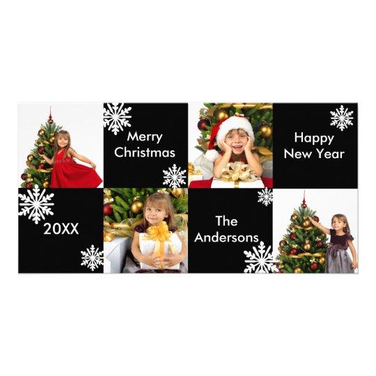 8H Squares Black White Snow - Christmas Photo