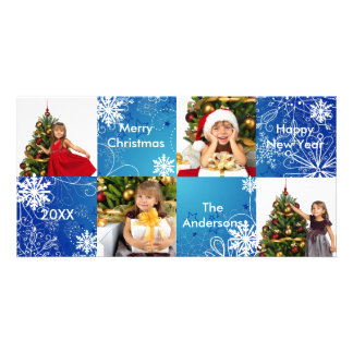 8H Squares Blue Snow Design - Christmas Photo Card