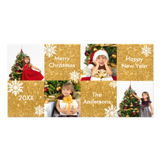 8H Squares Gold Glitter - Christmas Photo Card