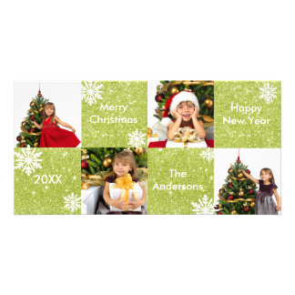 8H Squares Green Glitter - Christmas Photo Card