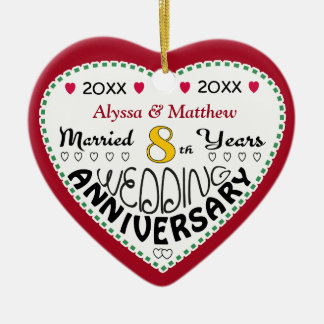 8th Anniversary Gift Heart Shaped Christmas Christmas Ornament