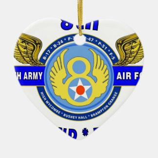 "8TH ARMY AIR FORCE ""ARMY AIR CORPS"" WW II CERAMIC HEART DECORATION"