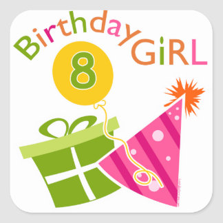 8th Birthday - Birthday Girl Square Sticker