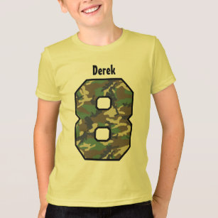 0b649005f 8th Birthday Boy Camo Eight Year Custom Name V01B T-Shirt
