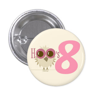 8th Birthday Button Owl Number 8 Birthday Favors