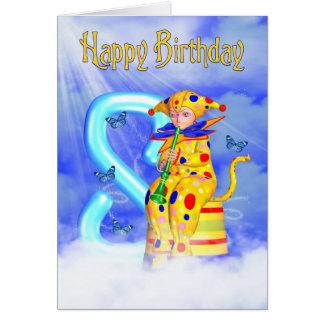 8th Birthday Card - Cute Little Pixie Clown