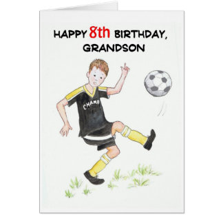8th Birthday Card for a Grandson - Footballer