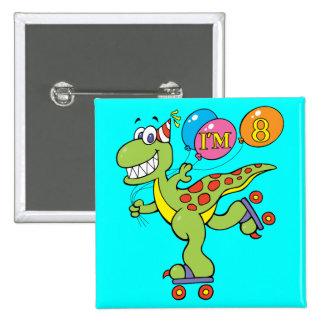 8th Birthday Dinosaur Pin