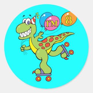 8th Birthday Dinosaur Round Stickers