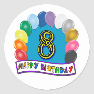 8th Birthday Gifts with Assorted Balloons Design Classic Round Sticker