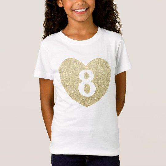 8th Birthday Girl Glitter heart Personalised T-Shirt