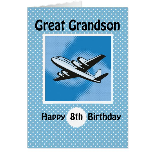 8th Birthday, Great Grandson, Aeroplane on Blue Card