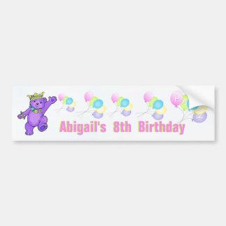 8th Birthday Party Purple Princess Bear Bumper Sticker