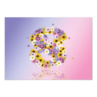 8th Birthday party, with flowered letters 5x7 Paper Invitation Card
