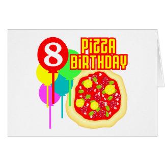 8th Birthday Pizza Birthday Greeting Cards