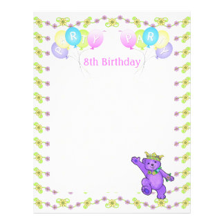 8th Birthday Princess Bear Party Scrapbook Paper 1 Flyer Design