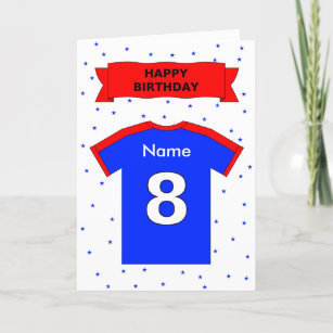 8th Birthday Red Blue T Shirt Add A Name Card