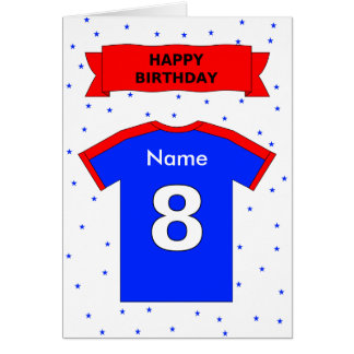 8th birthday red blue t-shirt add a name greeting card