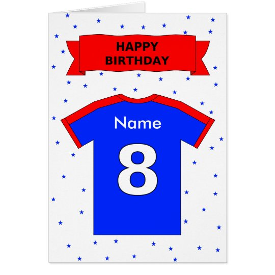 8th birthday red blue t-shirt add a name