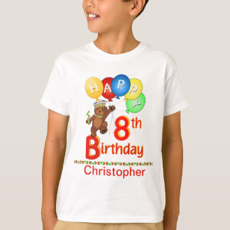 8th Birthday Regal Teddy Beary Custom Name T-Shirt