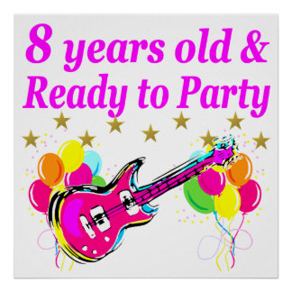 8TH BIRTHDAY ROCK STAR ROCK N ROLL DESIGN POSTER