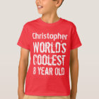 8th Birthday World's Coolest 8 Year Old RED 2 T-Shirt