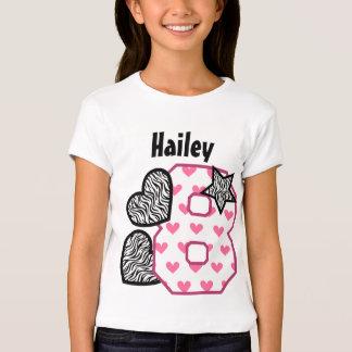 8th Birthday Zebra Hearts Seven Year Old 10G T-shirt