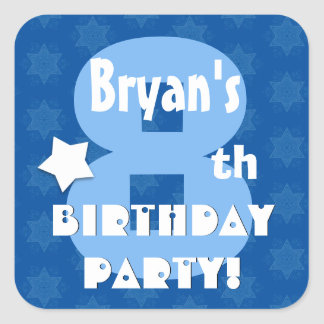 8th Kids Birthday Party Custom Name V7 Square Sticker
