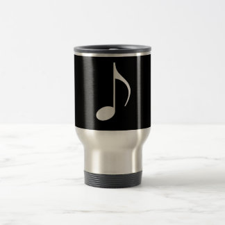 8th Musical Note Silver on Black Travel Mug