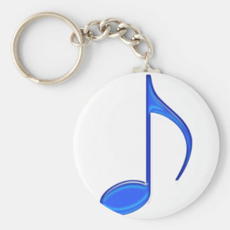 8th Note Blue Large 2010 Basic Round Button Key Ring