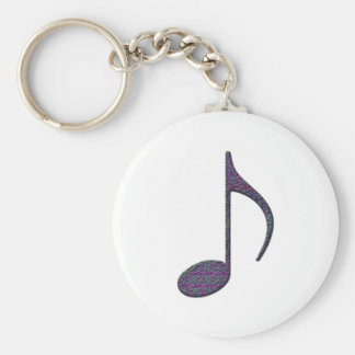 8th Note Large Basic Round Button Key Ring
