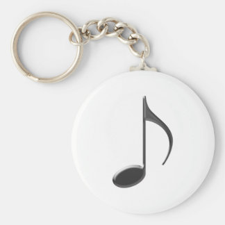 8th Note Large Black 2010 Basic Round Button Key Ring