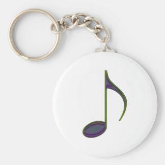 8th Note Large Purplish Basic Round Button Key Ring